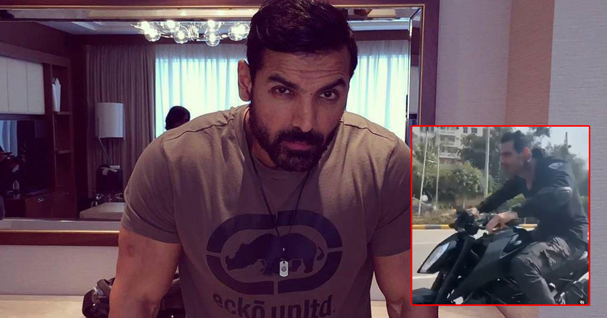 John Abraham Gets Into 'Dhoom' Mode Shooting A Chase Sequence, Fans Ask Him To Wear A Helmet!