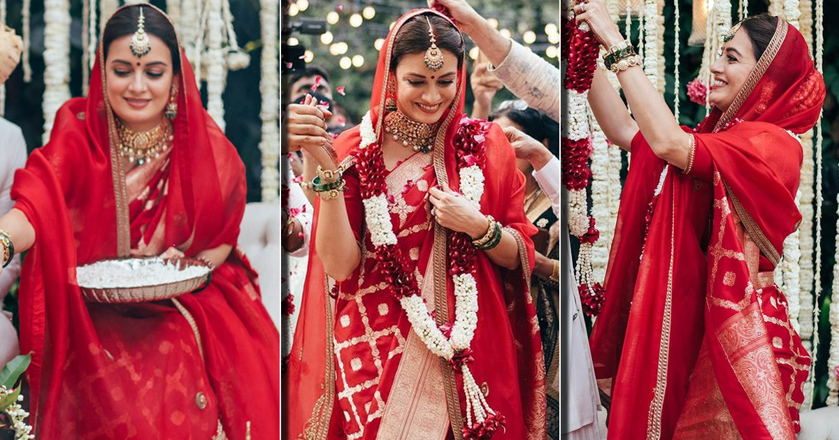 Planning A Low-Key Wedding? Dia Mirza's Red Raw Mango Silk Saree Would Make You A B'ful Bride, Check Out