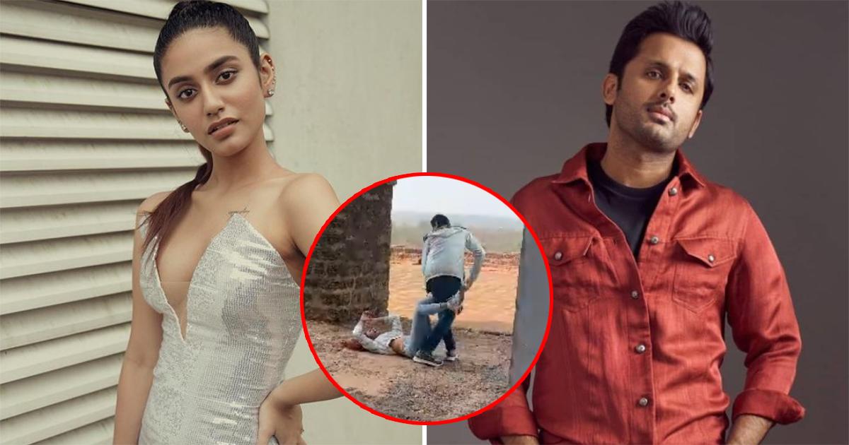 Priya Prakash Varrier Falls On Her Back While Jumping On Nithiin – Check Out Video