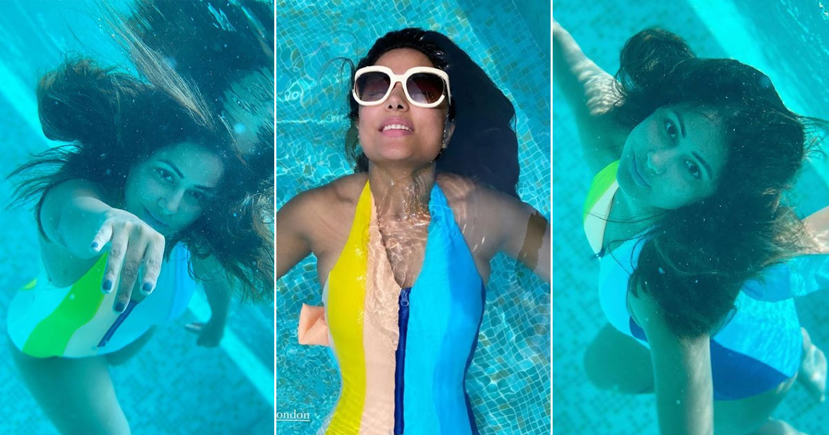 Hina Khan In The Striped Inagua Swimsuit During Her Maldives Holiday Is Setting The Temperature Soaring & Its Price Tag Has Us Astonished!