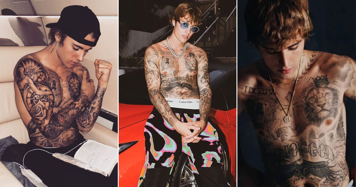 Justin Bieber Has Over 40 Tattoos Including Crosses, Text, Animals & More - Check Out The Meaning Behind These Inks