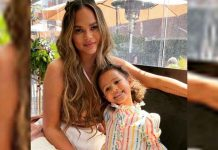 Chrissy Teigen, daughter Luna twin in black bikinis