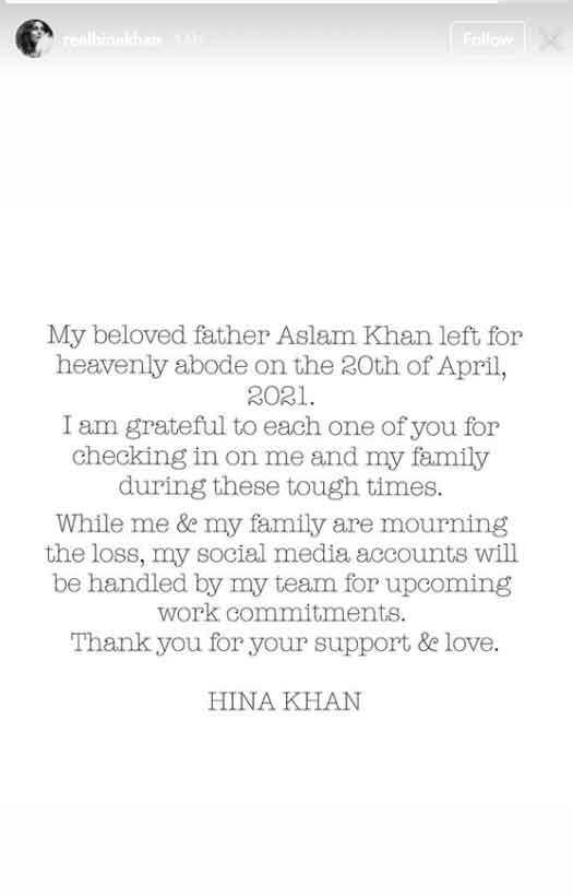"""Hina Khan Is All Heart As She Pens An Emotional Note On Her Father's Untimely Demise: """"I'm Grateful To Each One If You,"""" Read On"""