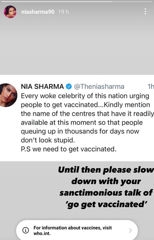 Nia Sharma Slams Celebs Urging People To Take Vaccines
