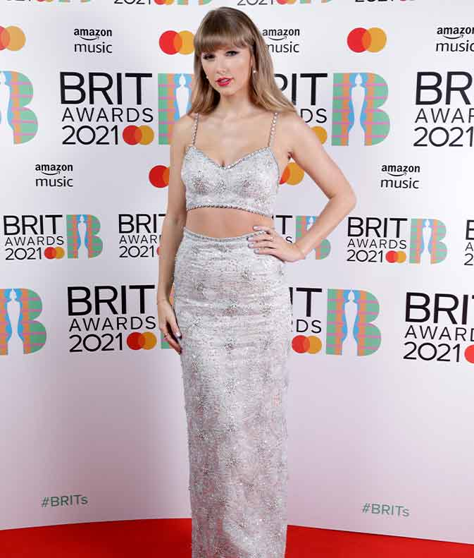 Taylor Swift Slayed The Brit Awards 2021 Red Carpet In A Two-Piece Silver Outfit