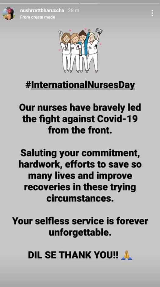 Nushrratt Bharuccha pens down a heartfelt note for the nurses on the occasion of International Nurses Day, says 'Dil Se Thank you'!