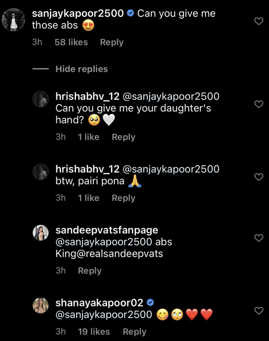 """Shanaya Kapoor's Father Sanjay Kapoor On Her Picture, """"Give Me Those Abs""""; Netizens Reply, """"Give Me Your Daughter's Hand?"""" - Check Out"""