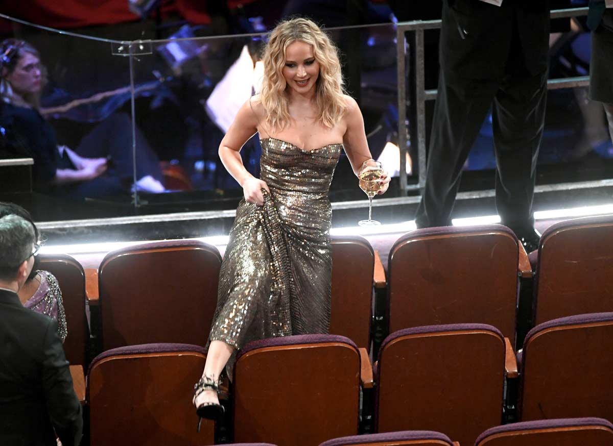 Jennifer Lawrence With A Champagne Glass, Jumping Chairs In A Sensual Glittery Dress Defines 'Monday Mood' For Many Of Us - Deets Inside