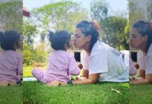 Neha Dhupia's baby loves painting on mom's hands and daddy's face