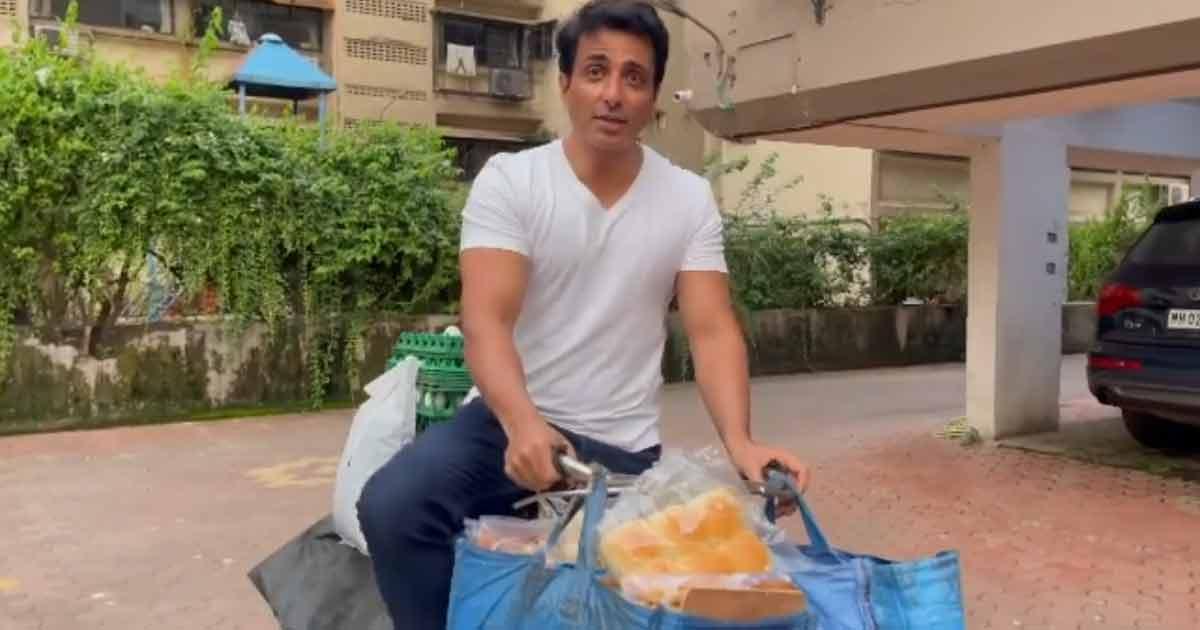 Sonu Sood Sells Eggs, Bread From 'Sonu Sood Ki Supermarket' On A Cycle