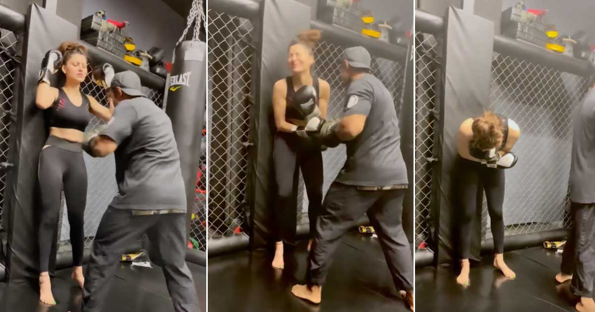 Urvashi Rautela shares training video of getting punched in the gut