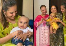Anita Hassanandani shares photos of son Aaravv's mundan ceremony