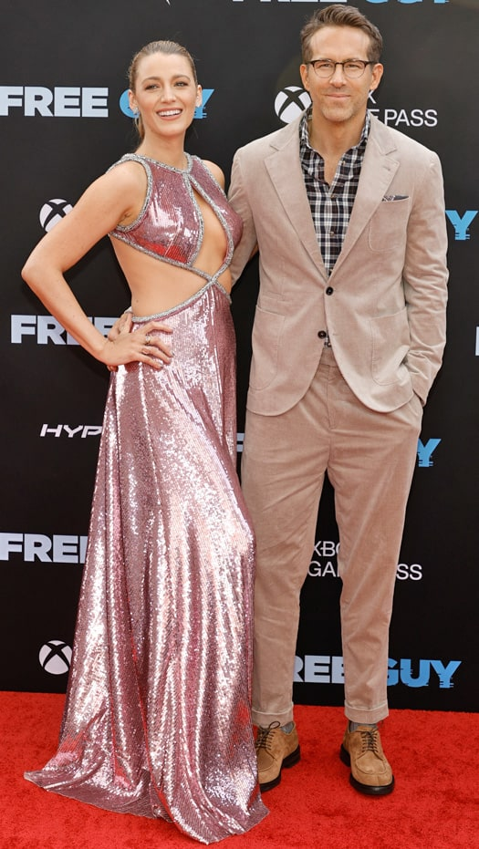 Blake Lively dazzles in pink as she shows her support for Ryan Reynolds at Free Guy's red carpet premiere