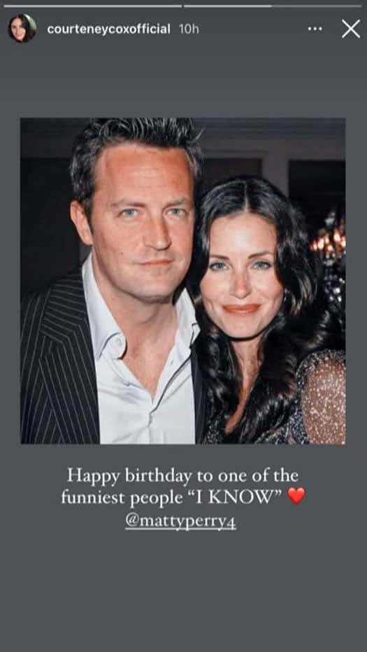 Courteney Cox Makes Reference To 'Friends' While Wishing Co-Star Matthew Perry A Happy Birthday