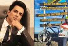 Cyclist reaches top of Kilimanjaro, unveils Sonu Sood poster