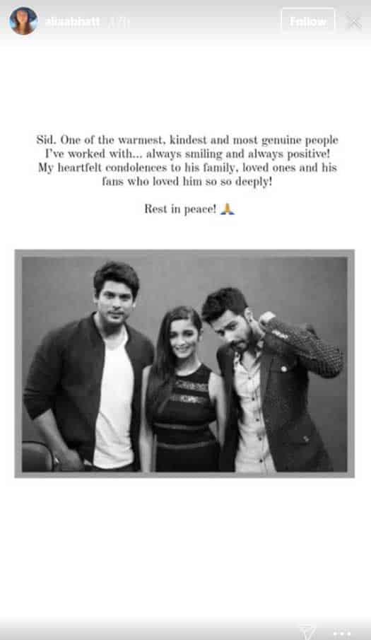 Alia Bhatt pens emotional message remembering Sidharth Shukla