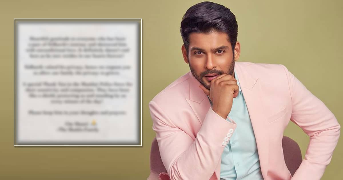 Family Of Late Sidharth Shukla Releases First Statement Post Demise