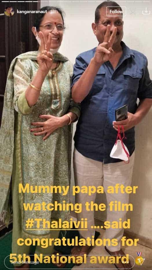Kangana's parents predict 5th National Award after watching 'Thalaivii'