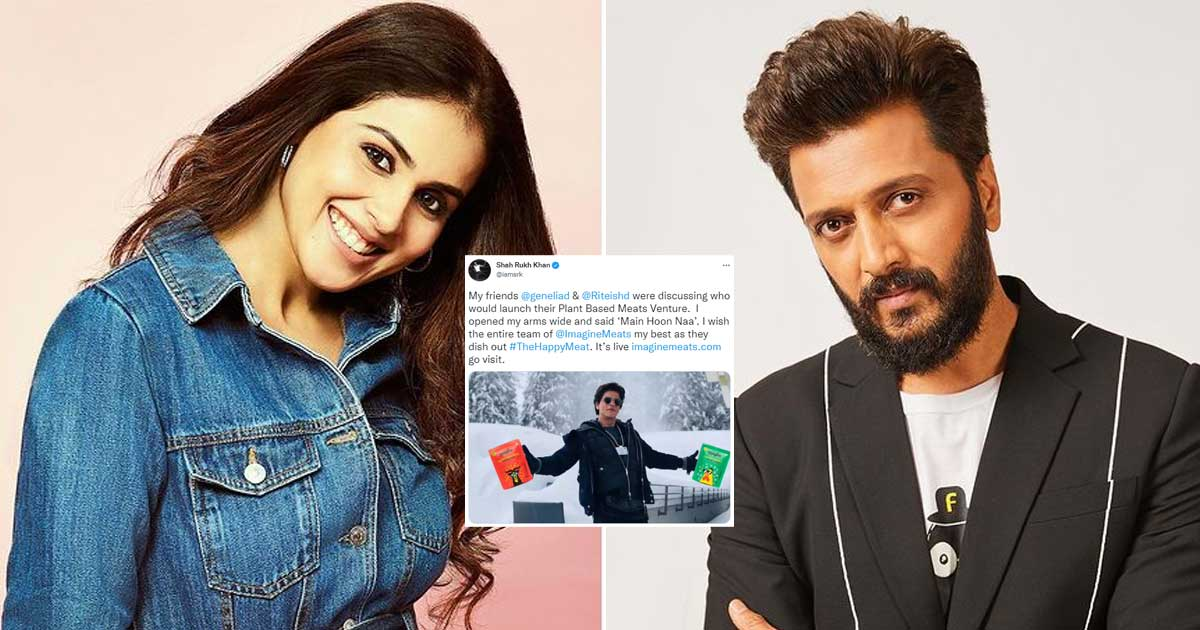 Shah Rukh Khan Spreads His Arms Again, This Time It's For Promoting Riteish Deshmukh & Genelia D'Souza's Plant-Based Meat