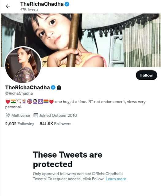 Richa Chadha locks her Twitter profile after trolling